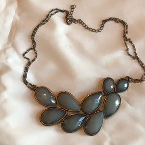Blue-gray stone bib collar necklace